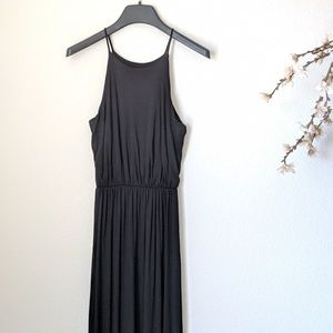 LUSH Dress Sleeveless Black Maxi Long Slit EUC